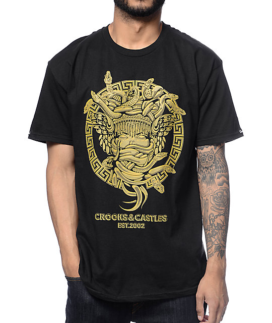 Crooks and Castles Engraved Medusa Black T-Shirt