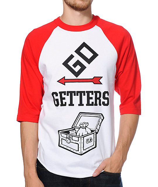 Crooks and Castles Go Getters White & Red Raglan Baseball Shirt