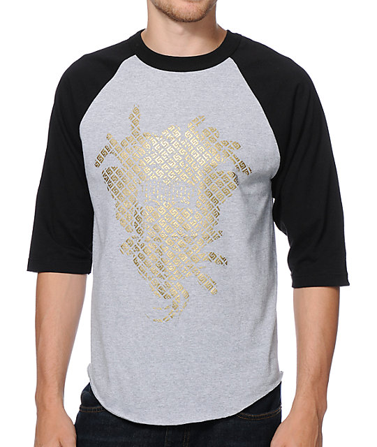 Crooks and Castles Greco Medusa Grey & Black Baseball T-Shirt