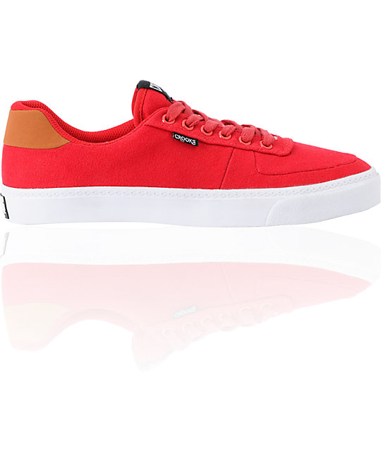 Crooks and Castles Isa Red Canvas Shoes