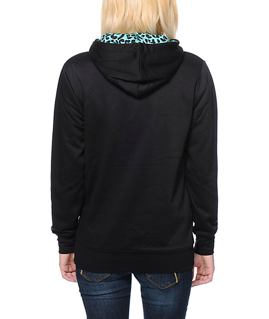 Crooks and Castles Leopard Print Pocket Black Pullover Hoodie