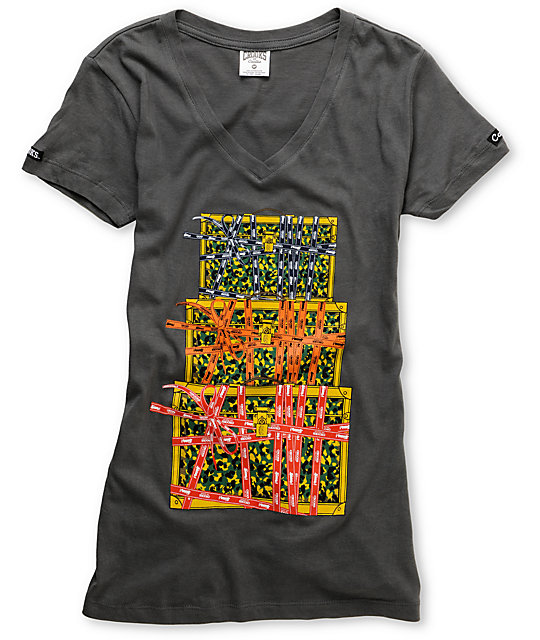 Crooks and Castles Lux Luggage Charcoal V-Neck T-Shirt