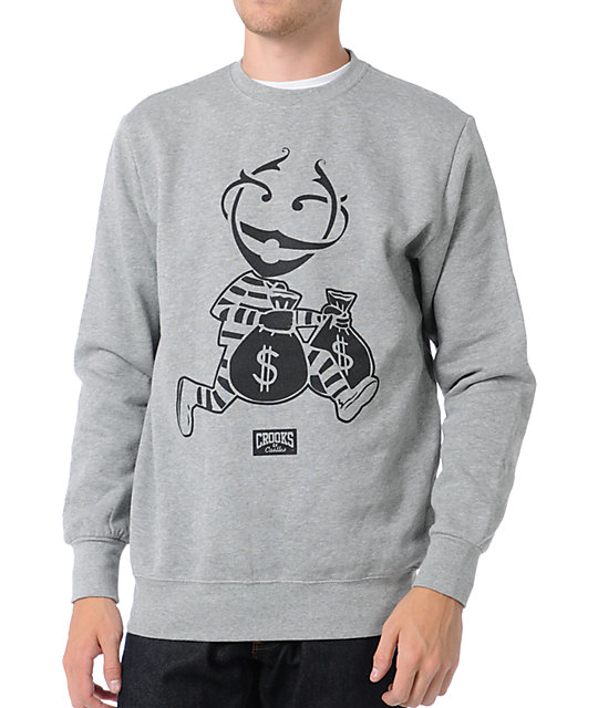 Crooks and Castles Monopoly Grey Crew Neck Sweatshirt