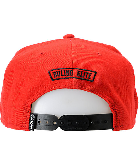 Crooks and Castles Outfitters Red Snapback Hat