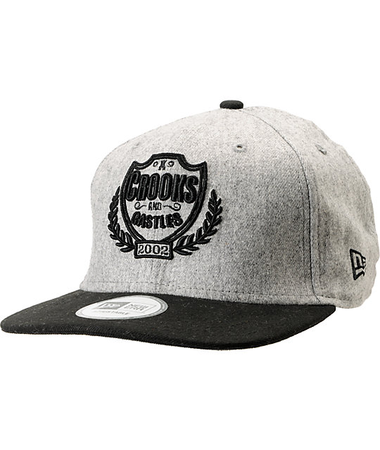 Crooks and Castles Privilege New Era Black & Grey Snapback Hat