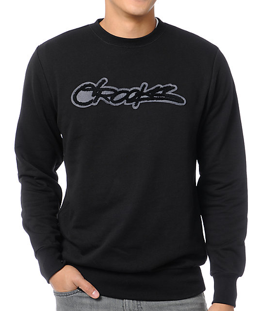 Crooks and Castles Slasher Black Crew Neck Sweatshirt