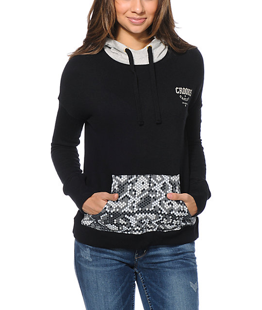 Crooks and Castles Snake Print Pocket Black Pullover Hoodie