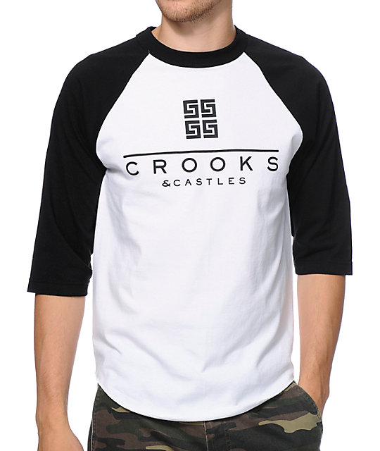 Crooks and Castles Thuxury Greco White & Black Baseball T-Shirt
