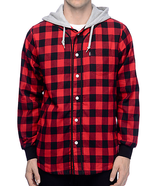Crooks and Castles Tyrant Red & Black Hooded Flannel Shirt at ...