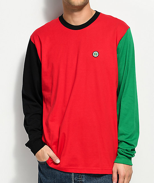 Cross Colours Color Block Red, Green & Black Long Sleeve T-Shirt ...