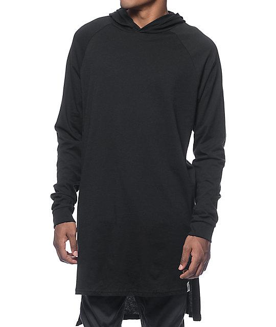Colours Hi-Lo Hooded Black Long Sleeve Raglan T-Shirt