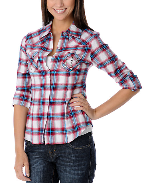 Crown Of Hearts Blue & Red Grommet Pocket Plaid Flannel Shirt