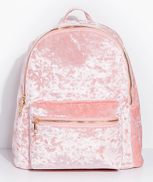 Crushed Velvet Light Pink Backpack | Zumiez