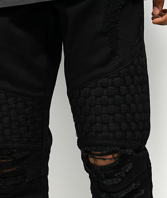 Crysp Denim Basket Woven Black Jeans