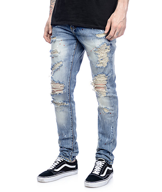 Crysp Denim Bobby Ink Splatter Ripped Jeans at Zumiez : PDP