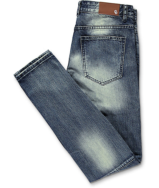 Crysp Denim David Ripped Panel Stone Washed Jeans