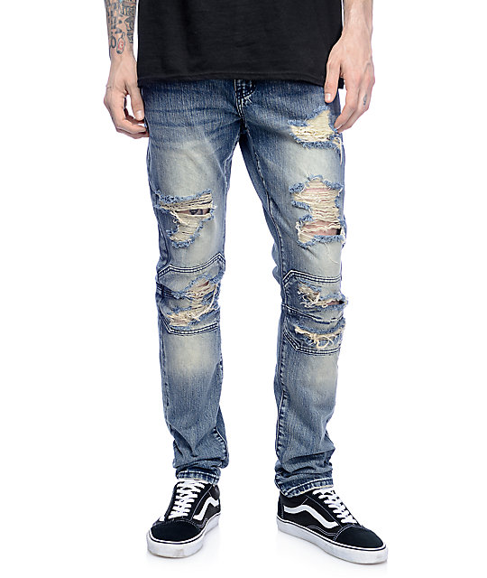 Light Blue Ripped Jeans Men