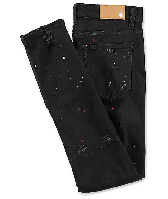 Crysp Denim Pacific Splatter Black Ripped Jeans