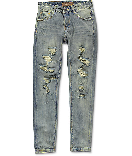 Crysp Denim White & Blue Boys Denim Jeans