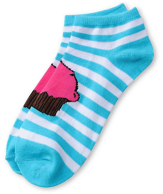 Cupcake Blue Stripe Ankle Socks