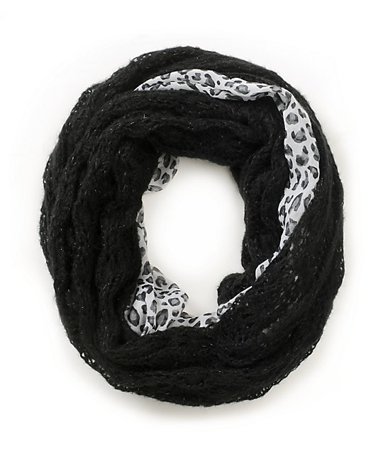 D&Y Animal Print & Knit Black And White Infinity Scarf