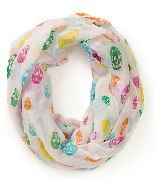 D&Y Assorted Skull Print Infinity Scarf