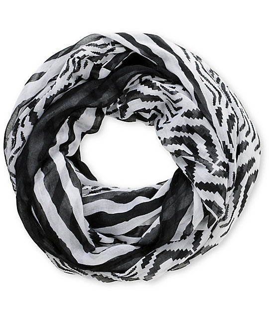 D&Y Black & White Stripe Infinity Scarf