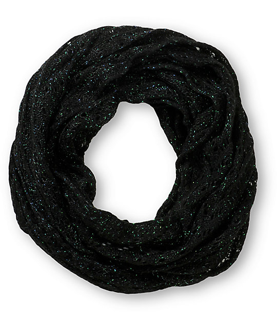 Black Knitted Infinity Scarf Knit Infinity Scarf at