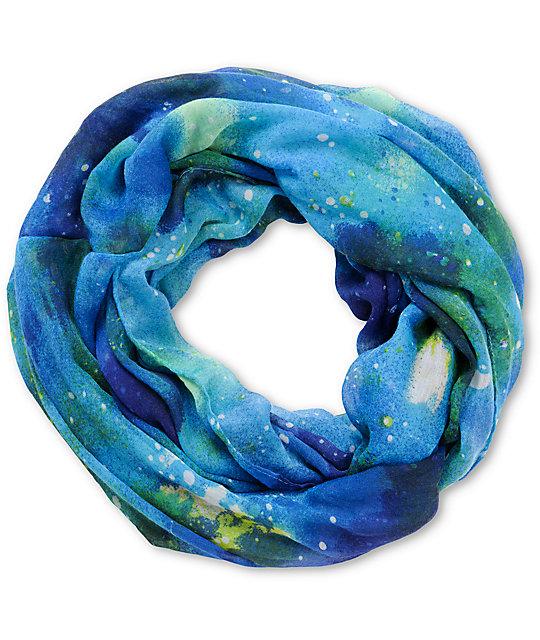 D&Y Blue Galaxy Print Infinity Scarf