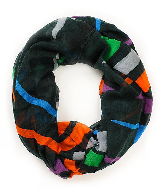 D&Y Bold Stripe Green Infinity Scarf