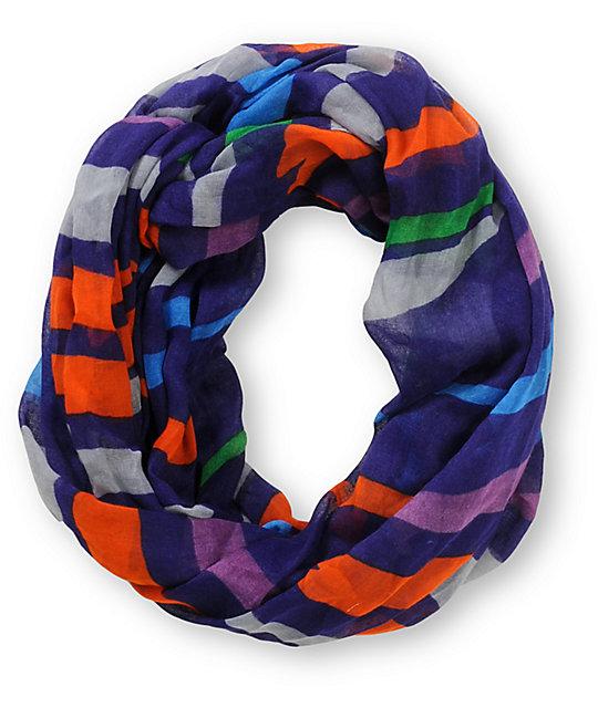 D&Y Bold Stripe Purple Infinity Scarf