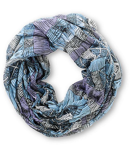 D&Y Dark Blue Tri Geo Print Infinity Scarf
