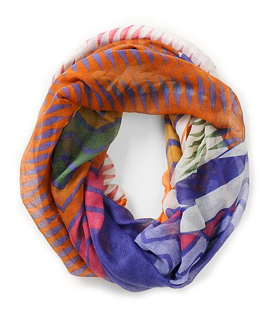 D&Y Geo Print Purple Infinity Scarf