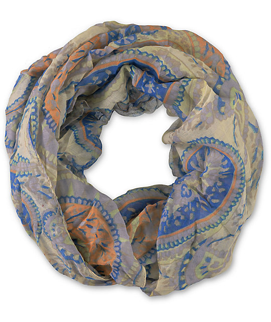D&Y Grey & Blue Paisley Tribal Print Infinity Scarf
