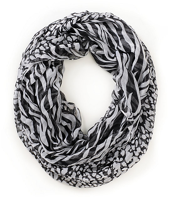D&Y Mixed Black Animal Print Infinity Scarf