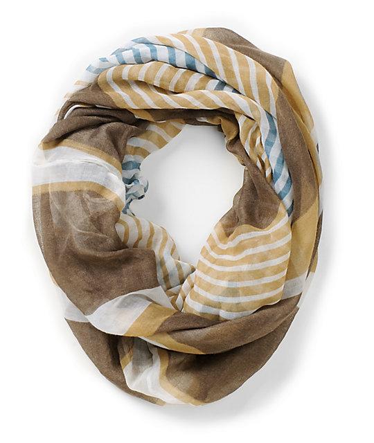 D&Y Multi Stripe Khaki Infinity Scarf