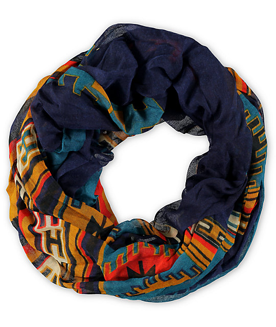 D&Y Navy Tribal Print Infinity Scarf