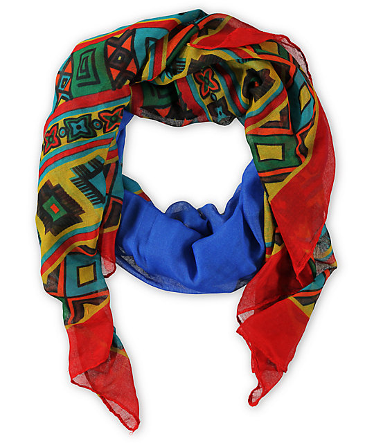 D&Y Oblong Geo Blue Tribal Print Scarf