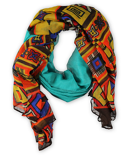 D&Y Oblong Geo Teal Tribal Print Scarf