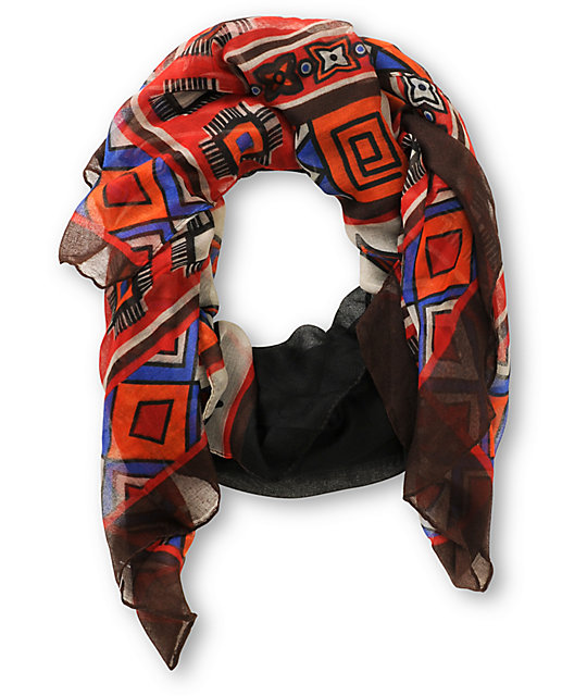 D&Y Oblong Geo Tribal Print Scarf
