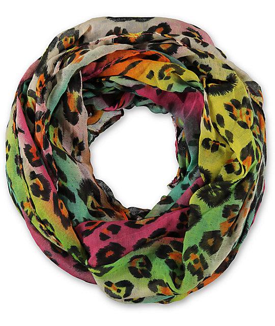 D&Y Rainbow Leopard Print Infinity Scarf