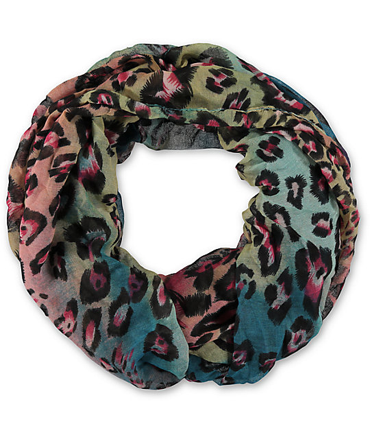 D&Y Rainbow Teal Leopard Print Infinity Scarf
