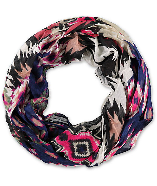 D&Y Sharp Navy Tribal Print Infinity Scarf