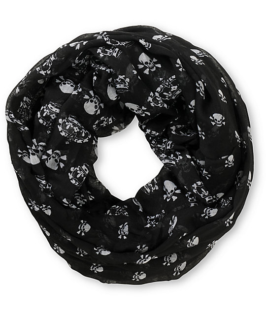 D&Y Skull Print Black Infinity Scarf