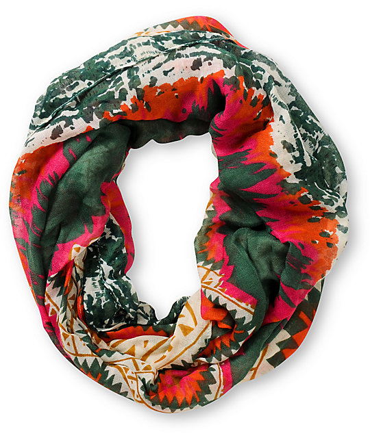 D&Y Tribal Print Green Infinity Scarf