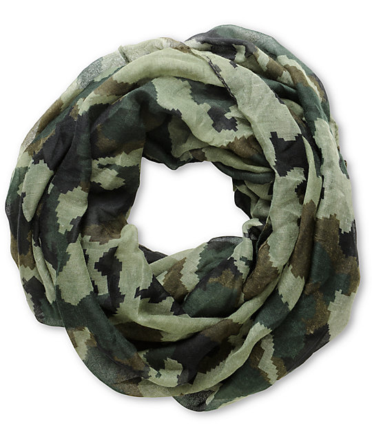 D Amp Y Green Camo Print Infinity Scarf At Zumiez Pdp