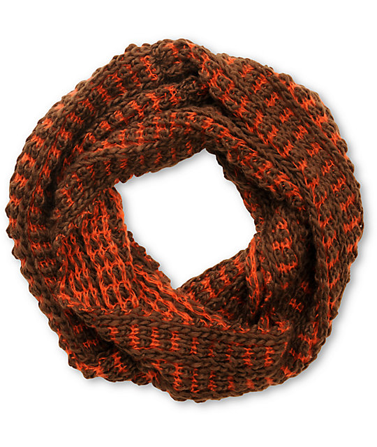 Stocking Stitch Knitting Patterns : D&Y Red Two Tone Chunky Knit Infinity Scarf at Zumiez : PDP