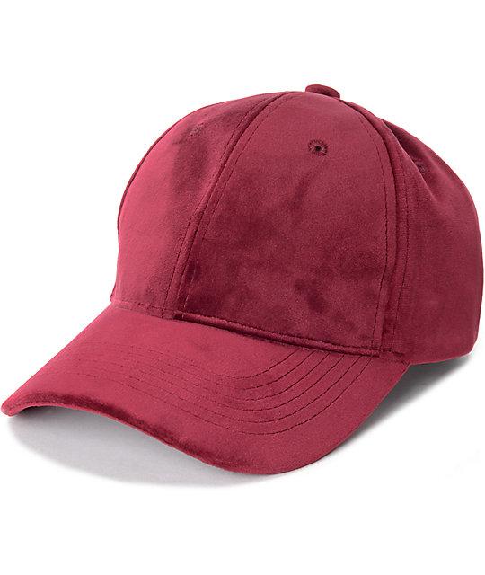 D & Y Burgundy Velvet Baseball Hat