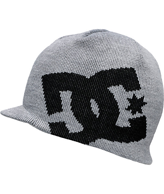 DC Big Star Heather Grey & Black Visor Beanie