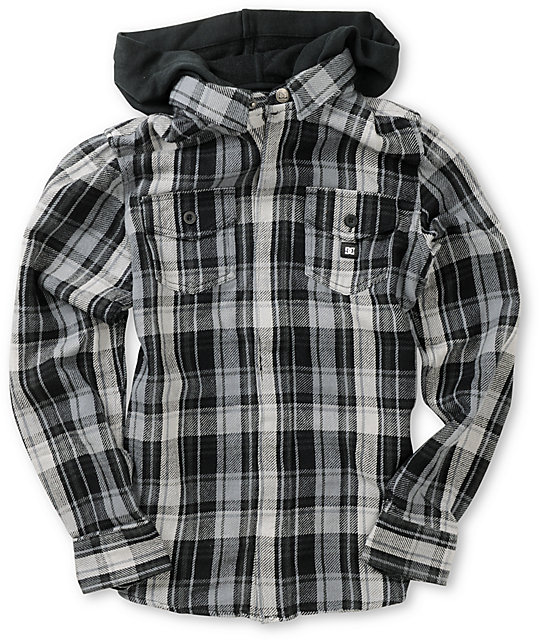 Dc boys bidwell black grey plaid hooded flannel shirt for Grey plaid shirt womens